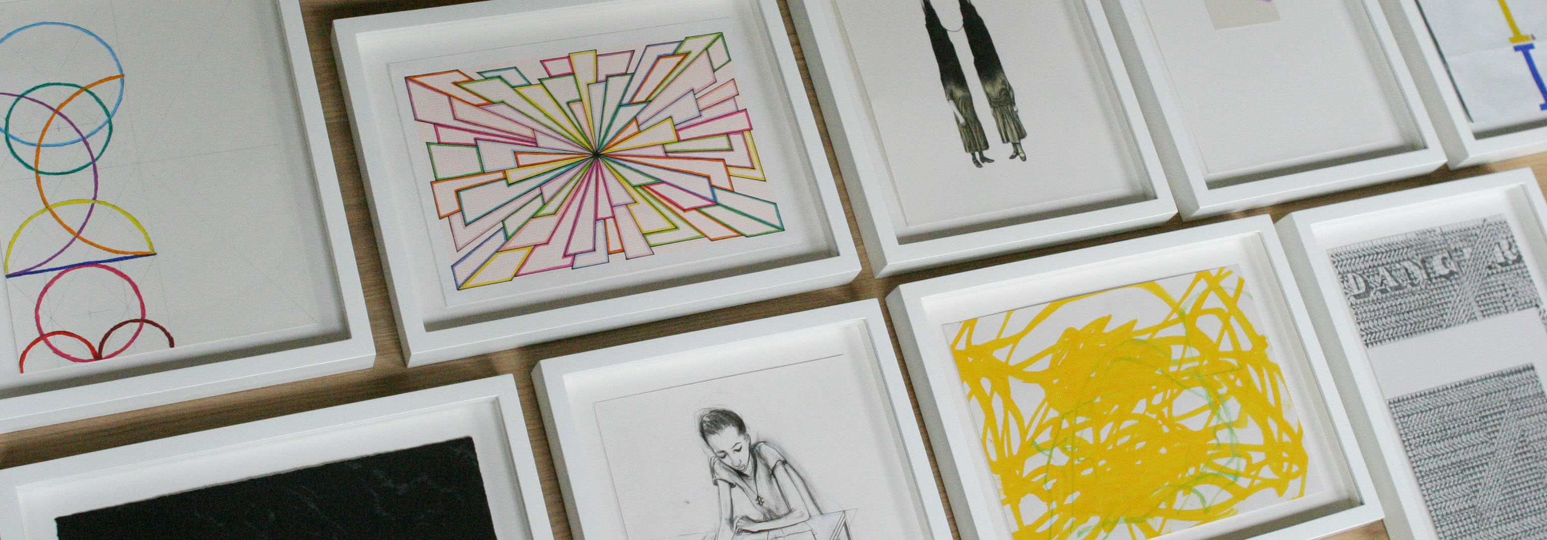 Framed drawings from the Drwaing Room Bienalle 2015
