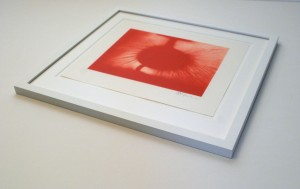 Float mounted print within a window mount