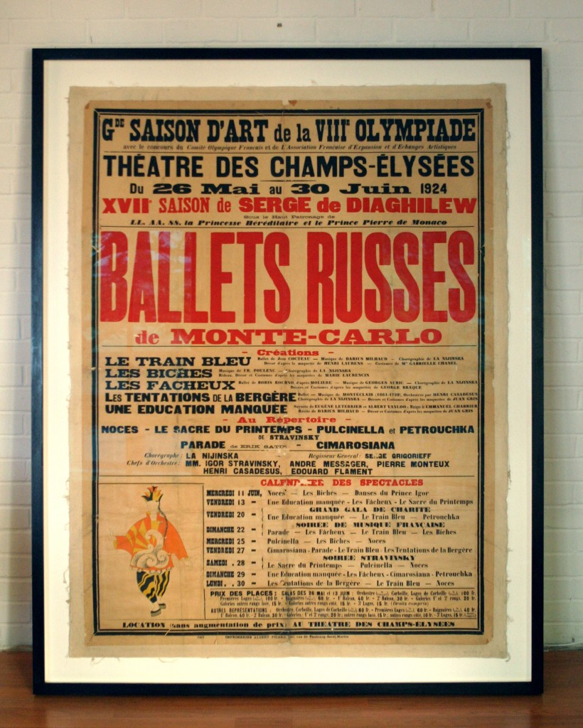Large 1924 poster for the Ballets Russes framed to museum standards with laminated Artglass