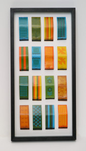 Framed Saul Bass match books in a ash box frame with museum glass.
