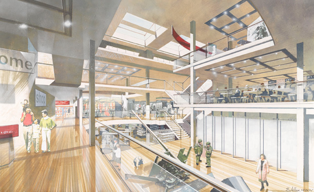 Artists impression of the proposed new atrium at the National Army Museum