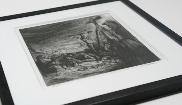 Etching, window mounted and framed to conservation standards