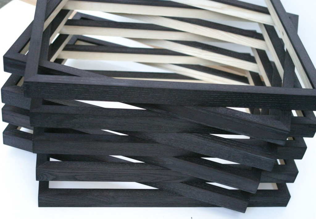 Black ash box frames prepared for waxing.