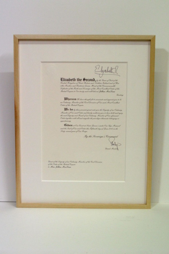Window mounted document in a waxed ash frame with museum glass